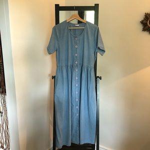 Vintage button front denim summer midi dress